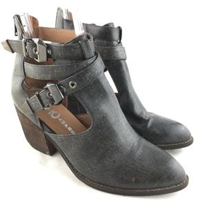 Ankle booties boots gray cut out strap Everwell 9